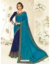 Stunning Turquoise Embroidered Saree