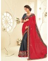 Remarkable Carbon Embroidered Saree