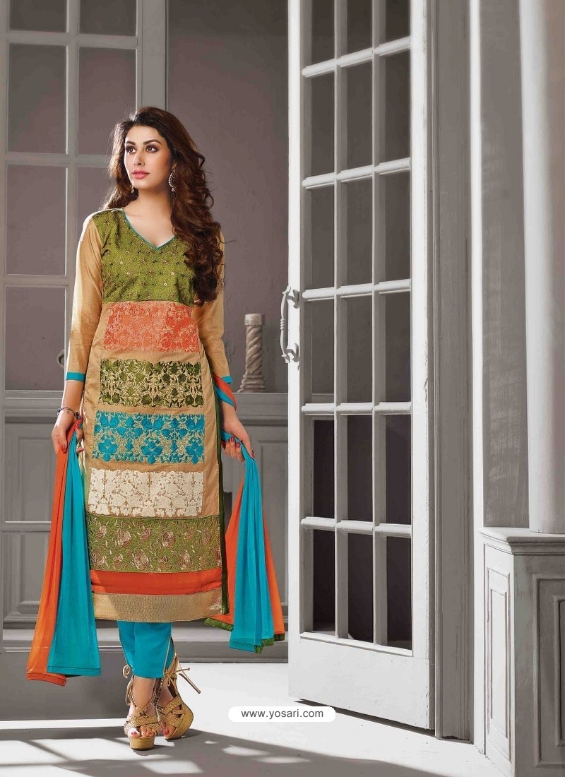 Muticolor Chanderi Silk Salwar Kameez