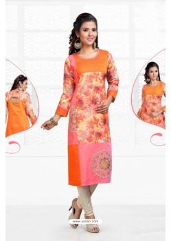 Unbelievable Orange Chanderi Kurti