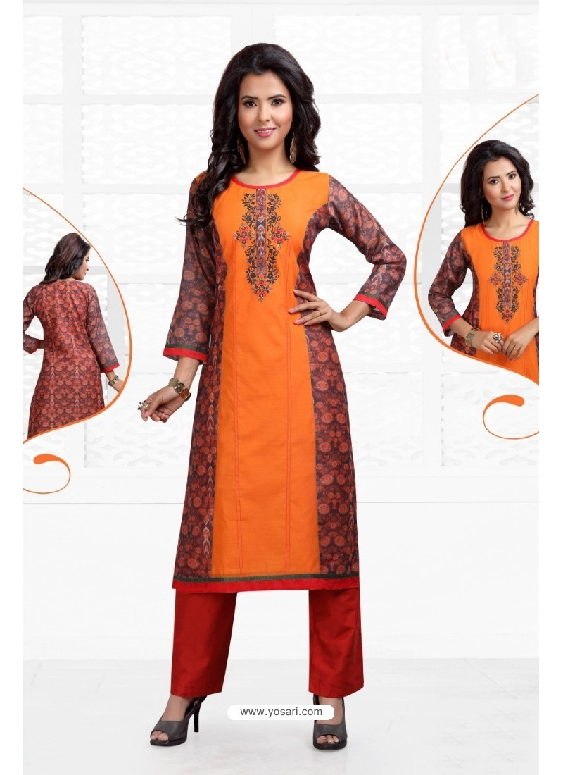 Pleasing Orange Chanderi Kurti
