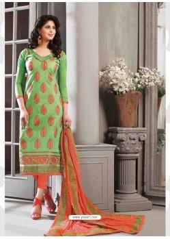 Orange And Green Chanderi Silk Salwar Kameez