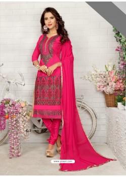 Decent Fuchsia Cotton Embroidered Suit