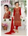 Lustrous Crimson Cotton Embroidered Suit