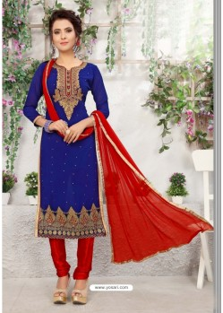 Flawless Royal Blue Cotton Embroidered Suit