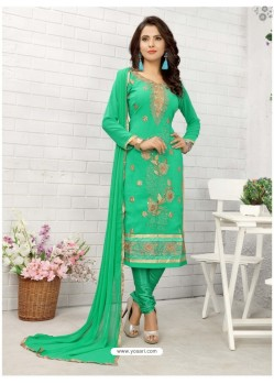 Competent Sea Green Cotton Embroidered Suit