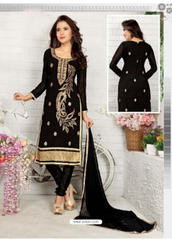 Marvelous Black Cotton Embroidered Suit