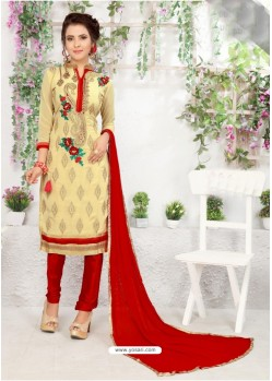 Gorgeous Beige Cotton Embroidered Suit