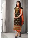 Black And Orange Chanderi Silk Salwar Kameez