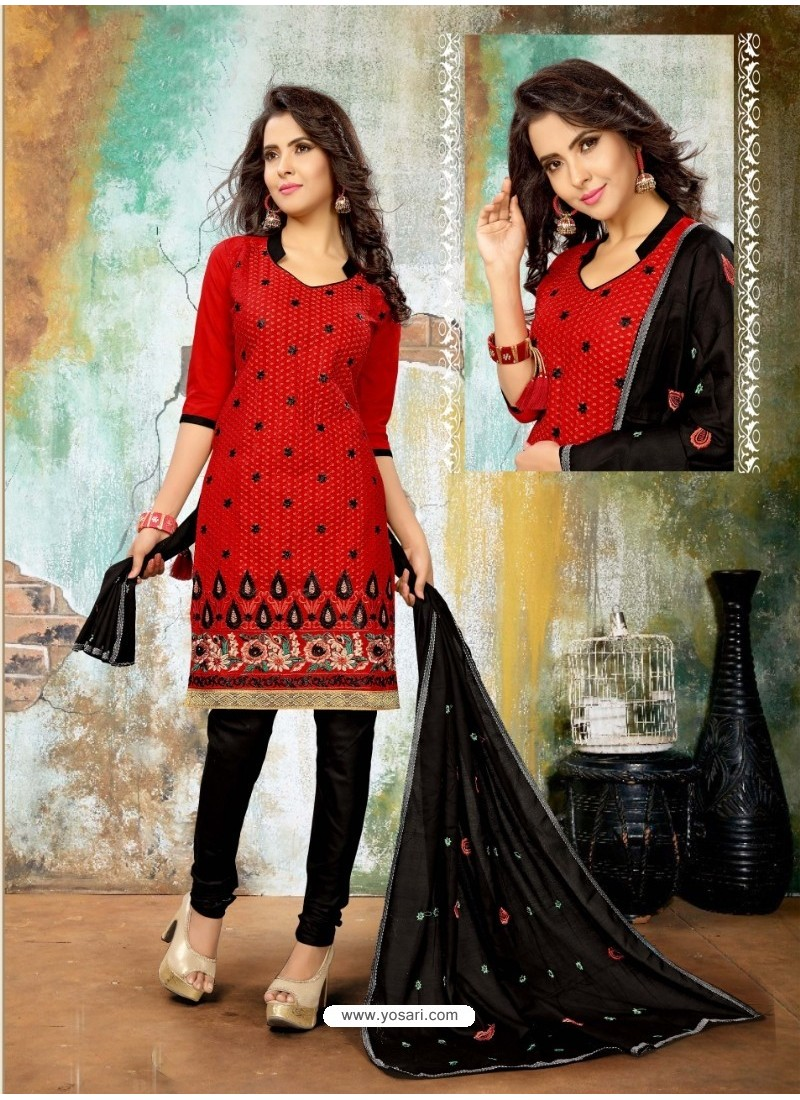 Delightful Red Cotton Suit