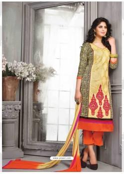Cream And Orange Chanderi Silk Salwar Kameez