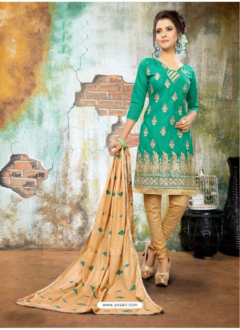 Girlish Teal Cotton Suit