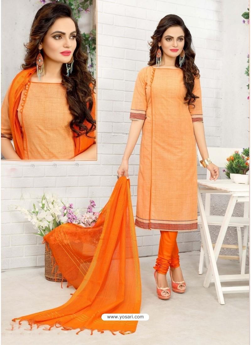 Mesmeric Orange Cotton Suit