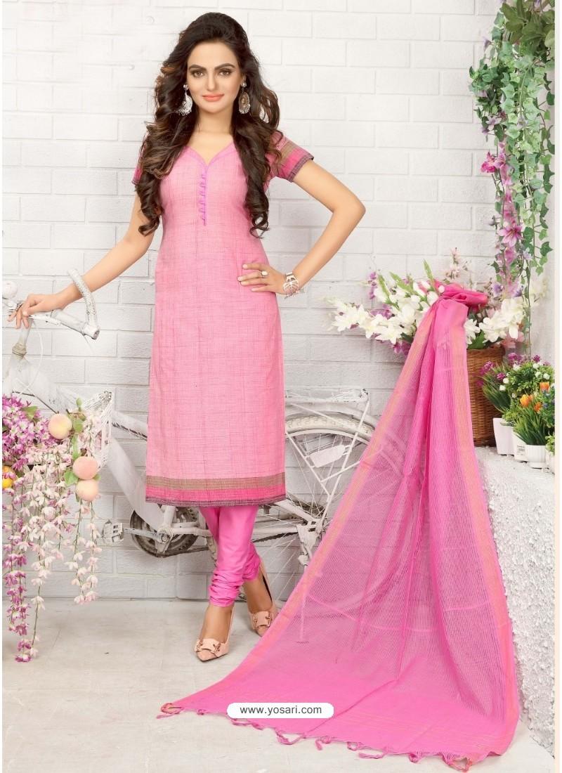 Fabulose Light Pink Cotton Suit