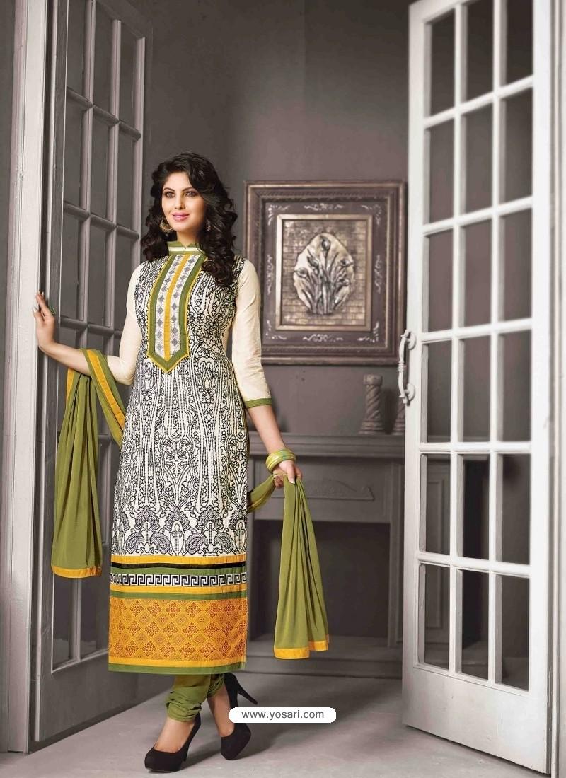 Cream And Green Chanderi Silk Churidar Salwar Suits