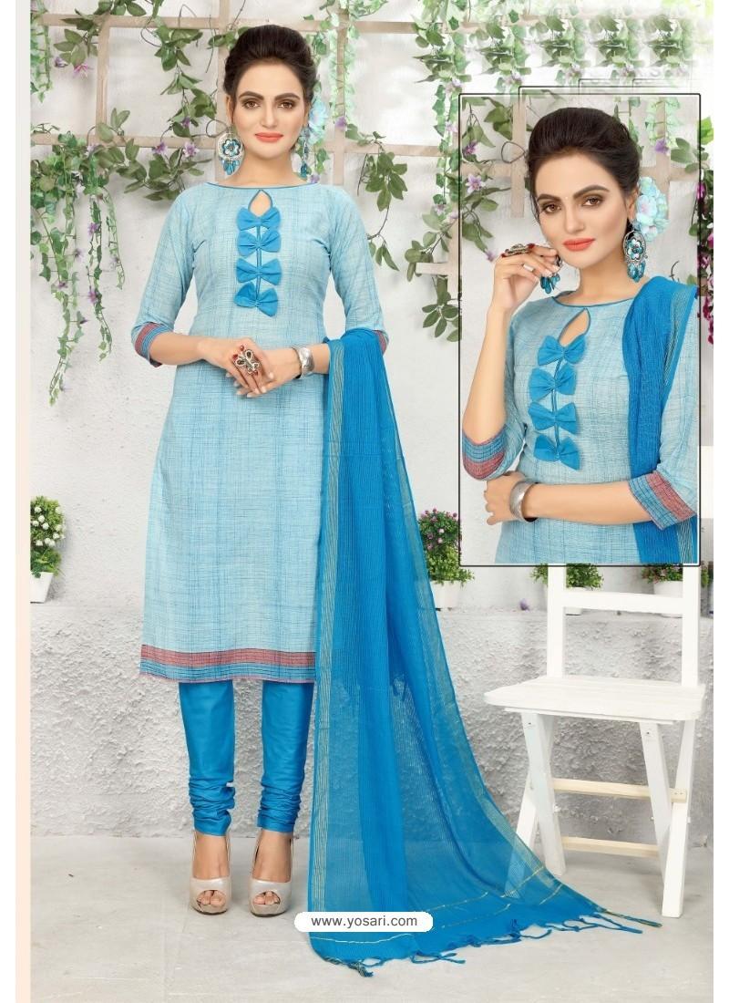 Astonishing Blue Cotton Suit