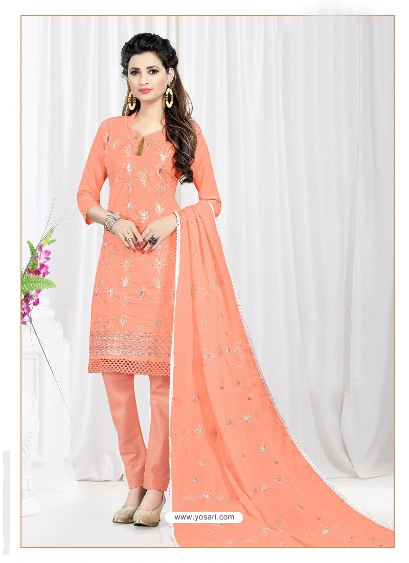 Awesome Peach Cotton Embroidered Suit