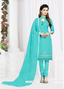 Asthetic Sky Blue Cotton Embroidered Suit