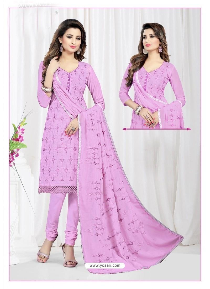 Fashionable Mauve Cotton Embroidered Suit