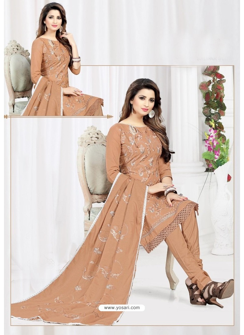 Astounding Rust Cotton Embroidered Suit