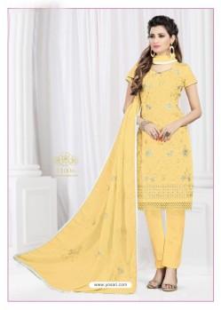 Sensational Lemon Cotton Embroidered Suit