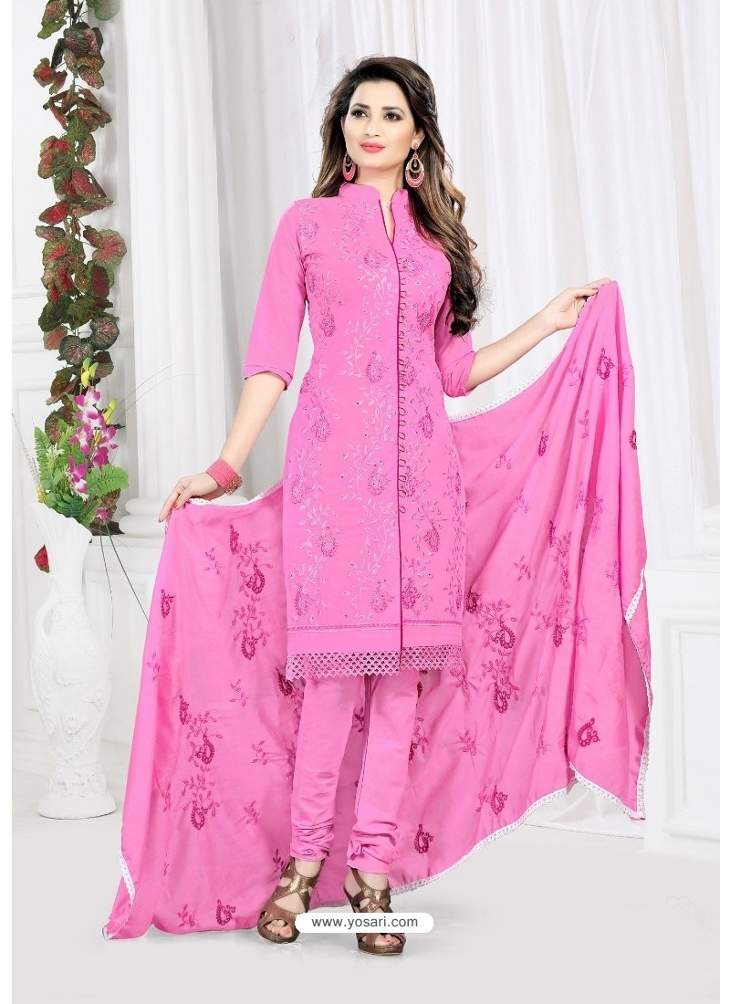 Remarkable Light Pink Cotton Embroidered Suit