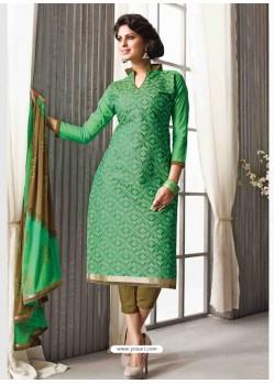 Green Chanderi Silk Salwar Kameez