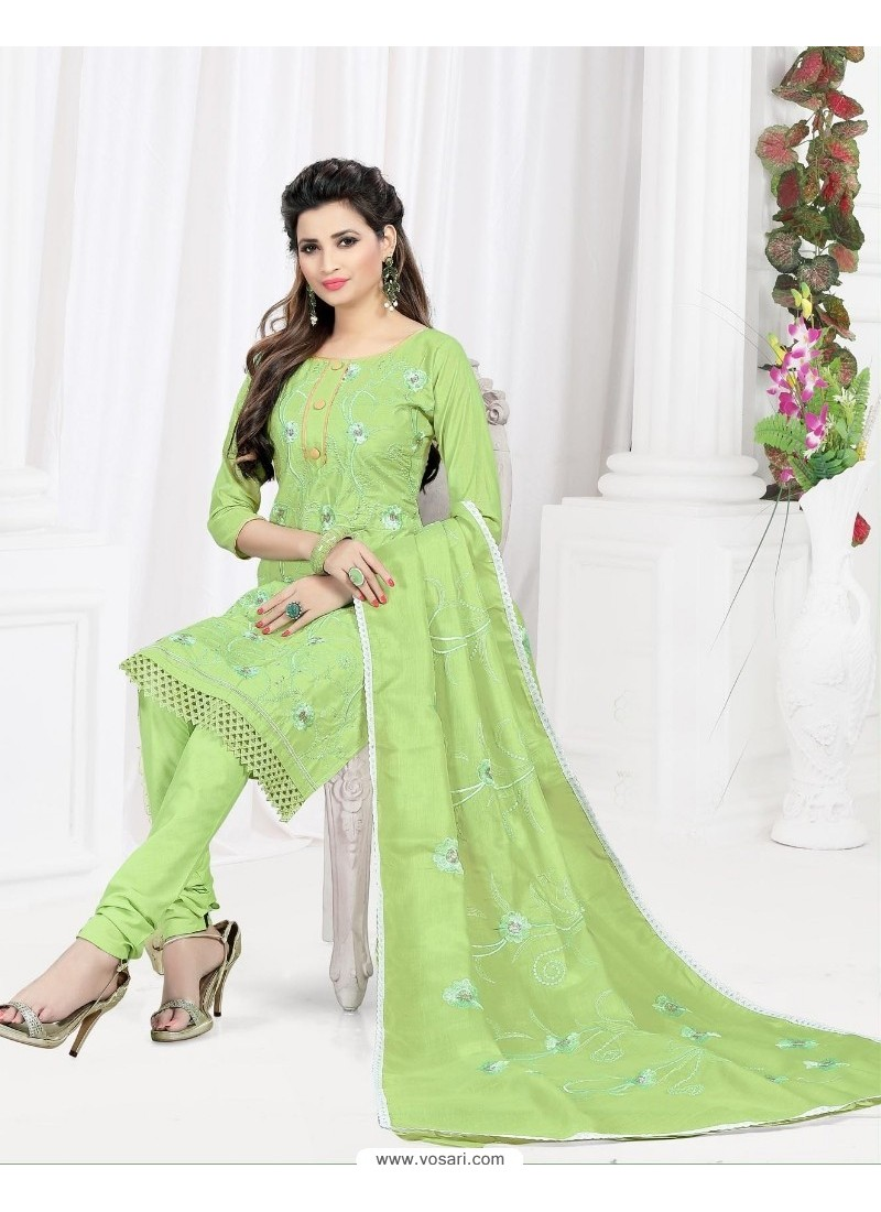 Spectacular Sea Green Cotton Embroidered Suit