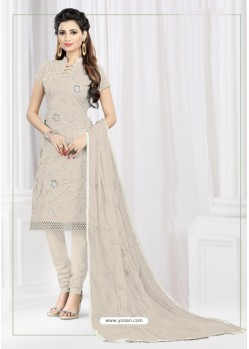 Extraordinary Silver Cotton Embroidered Suit