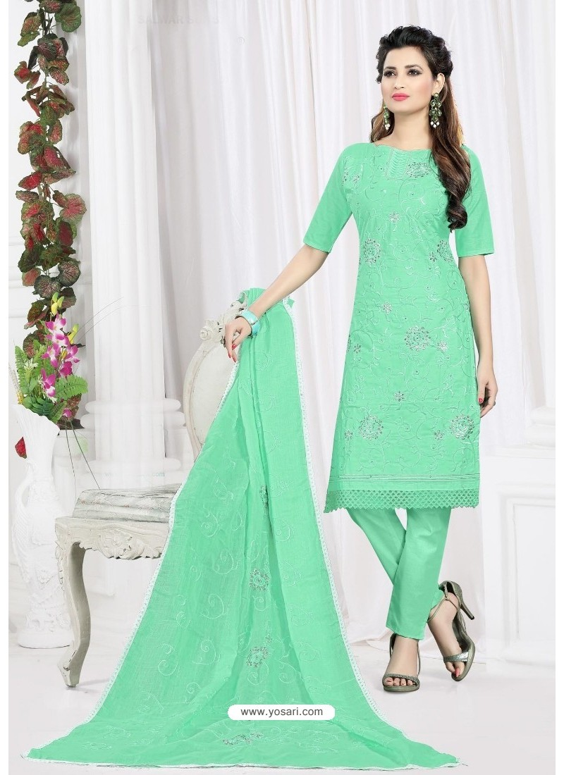 Unbelievable Sea Green Cotton Embroidered Suit