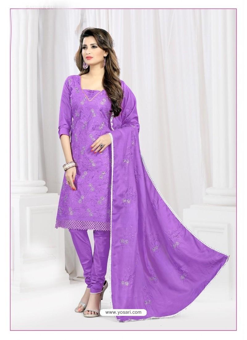 Wonderful Violet Cotton Embroidered Suit