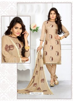 Mind Blowing Beige Cotton Embroidered Suit