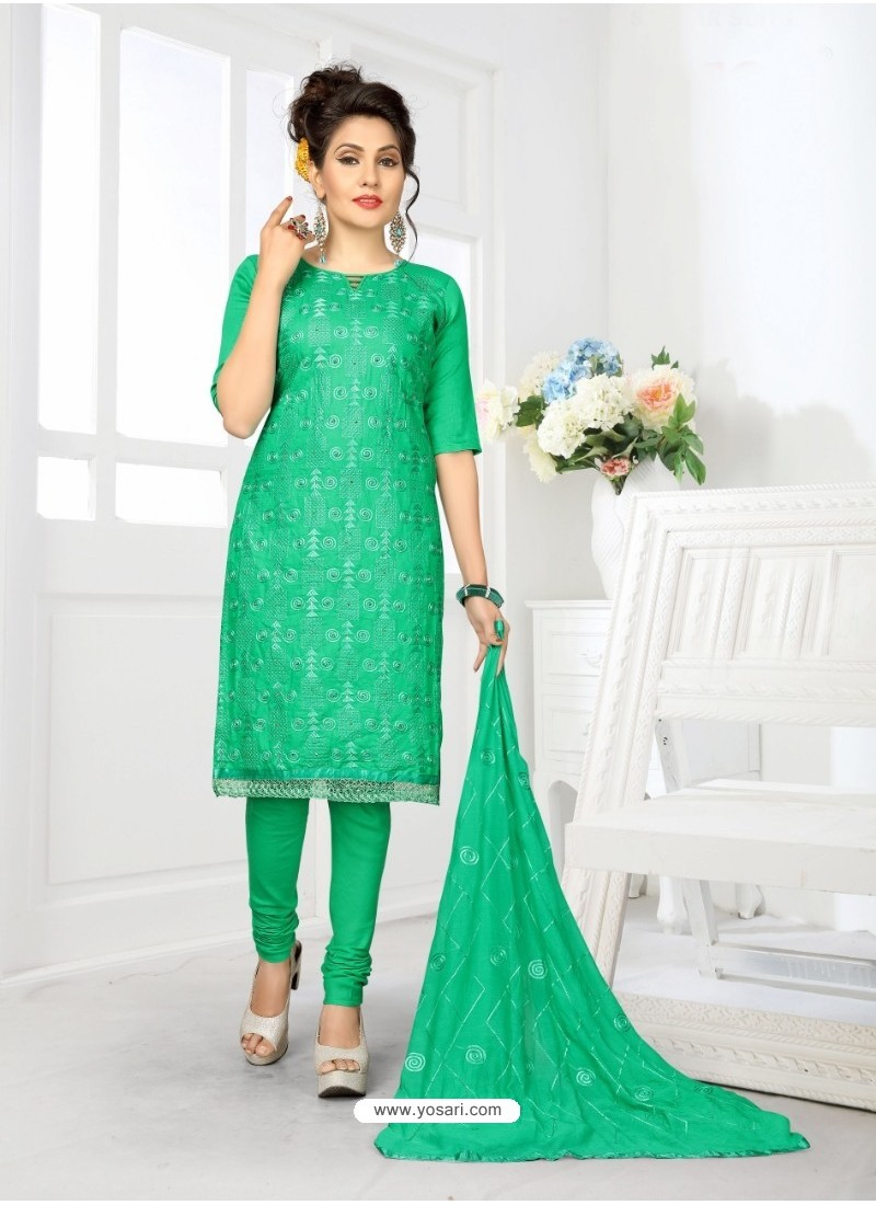 Attractive Green Cotton Embroidered Suit