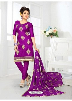 Pretty Purple Cotton Embroidered Suit