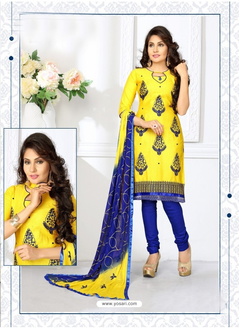 Nice Looking Yellow Cotton Embroidered Suit