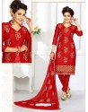 Pleasing Red Cotton Embroidered Suit