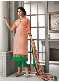Orange And Green Chanderi Silk Salwar Kameez