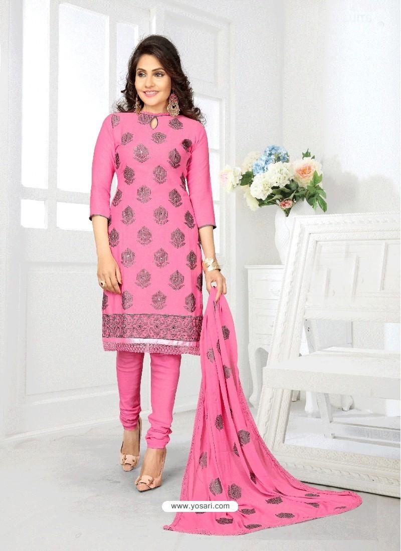 Heavenly Light Pink Cotton Suit