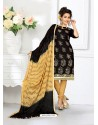 Glamorous Black Cotton Embroidered Suit