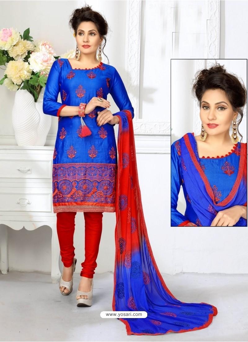 Elegant Royal Blue Cotton Suit