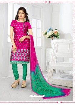 Enhanting Fuchsia Cotton Embroidered Suit