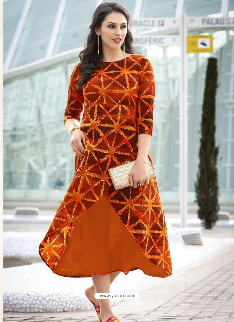 Amazing Orange Cotton Kurti