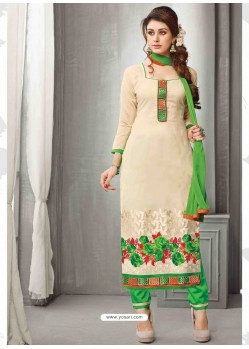 Green And Cream Chanderi Silk Salwar Kameez