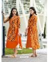 Eyeful Orange Cotton Kurti