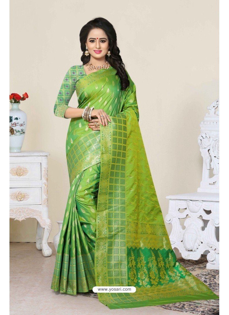 Splendid Green Banarasi Silk Saree
