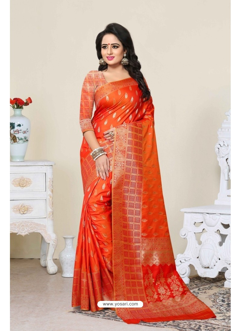 Glorious Orange Banarasi Silk Saree