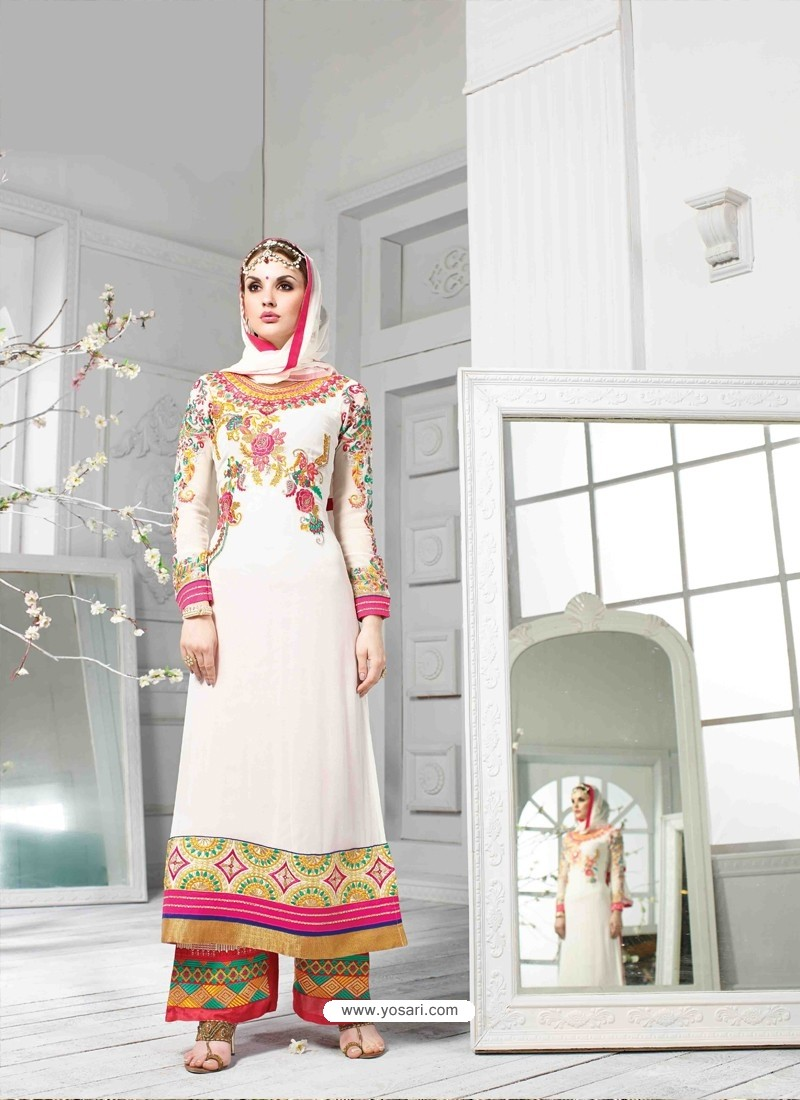 White Georgette Pakistani Suit