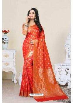 Dazzling Orange Banarasi Silk Saree