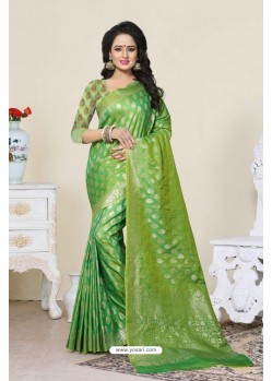 Feminine Green Banarasi Silk Saree