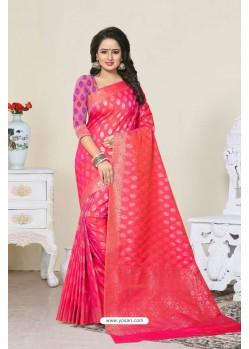 Magical Fuchsia Banarasi Silk Saree